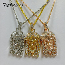Hip Hop Necklace Silver Rose Gold Color Iced Out Bling Full Rhinestone Big Jesus Piece Head Pendants Necklaces for Mens Jewelry(China)
