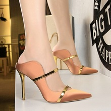 basic mules super high heels pumps women shoes Sexy drag tip bling metal decoration shallow unif  block tacones mujer