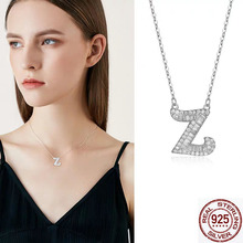 925 silver CRYSTAL cz stone initial name letter necklace for women 2019 fashion