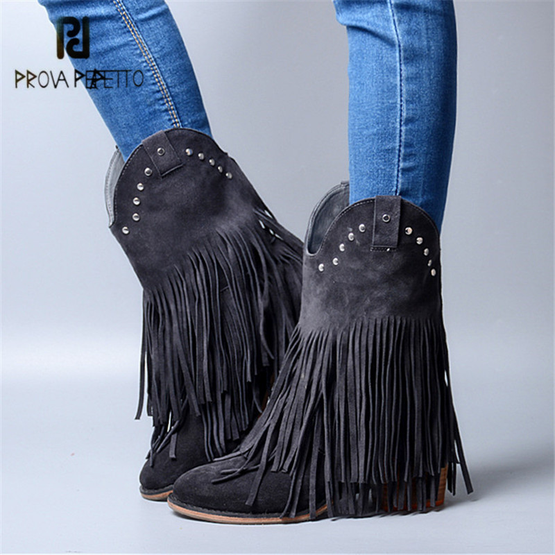 Prova Perfetto Fashion Fringed Women Mid-calf Boots Suede Tassels Chunky High Heel Shoes Slip On Rivets Studded Rubber Boots jady rose brown fringed women chunky high heel boots suede slip on women rivets studded rubber boot platform autumn winter botas