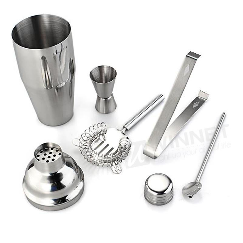 Set 5 Stainless Steel Cocktail 750ml Shaker Jigger Mixer Ice Strainer Clip Spoon
