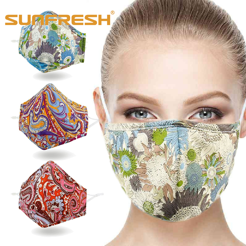 Multi-color Anti-mite Fashion Pattern Professional Mouth Face Mask Washable Cotton Maske Sunscreen Pollution Venting Dust Mask