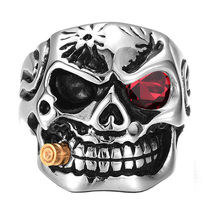 Gold Smoking Pipe Biker Men's Rings Rock Punk Skull Ring Steel Clear Zircon Eye Plating Rings Men Jewelry(China)