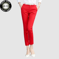 QBK DPU Brands Business Attire Red High Quality Casual Office Wear Pencil Pants And Leggings Women