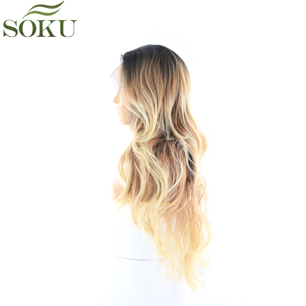 Image 3 - Synthetic Lace Front Wigs With Baby Hair For Black Women SOKU Ombre Color Long Wavy Wigs Glueless Heat Resistant Fiber Wig-in Synthetic Lace Wigs from Hair Extensions & Wigs