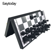Easytoday Plastic Chess Set Protable Folding Board Magnetic Pieces Standard Entertainment Games Gift
