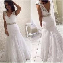 Женское свадебное платье с юбкой годе элегантное кружевное невесты