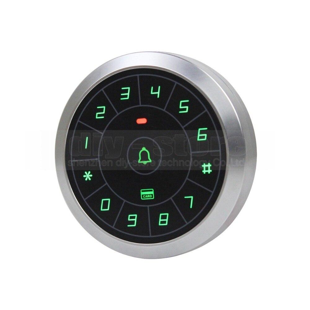 DIYSECUR 125KHz RFID Card Reader Touch Panel Backlight Circular Metal Case Password Keypad for Access Control