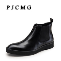 PJCMG Brand High Quality Black/Red Elastic Band/Zip Pointed Toe Ankle Casual Genuine Leather Design Men Dress Wedding Boots