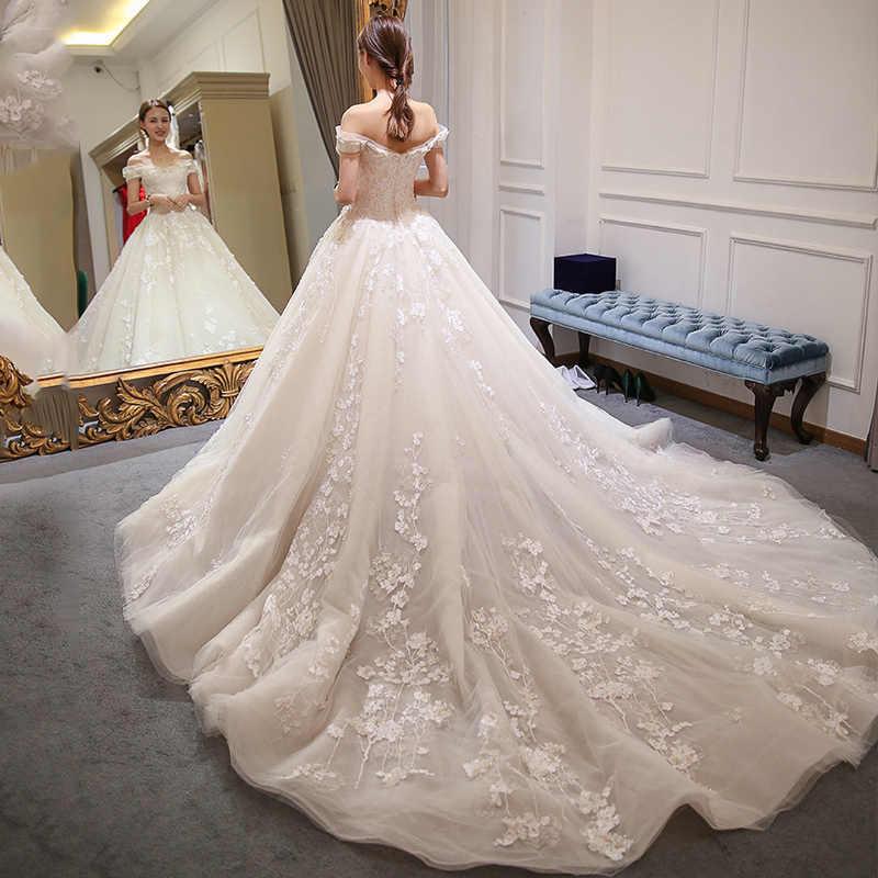 Длинное мусульманское кружевное свадебное платье высокого качества 2019, простое свадебное платье для невесты, настоящая фотография, свадебное платье, vestido de noiva