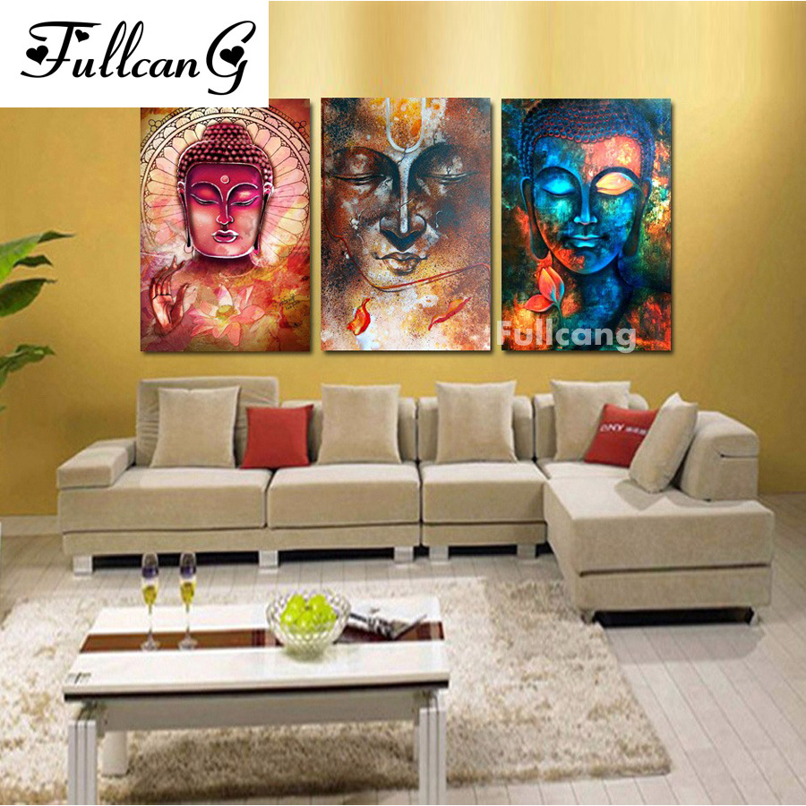 FULLCANG Mosaic buddha triptych diy diamond painting cross stitch full square embroidery religious people E623
