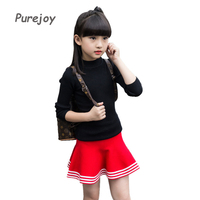 4-14Kids Knitted Skirts For Girls Clothing Children School Uniforms Elastic Waist Striped Skirts Autumn Winter Bottoming Skirts