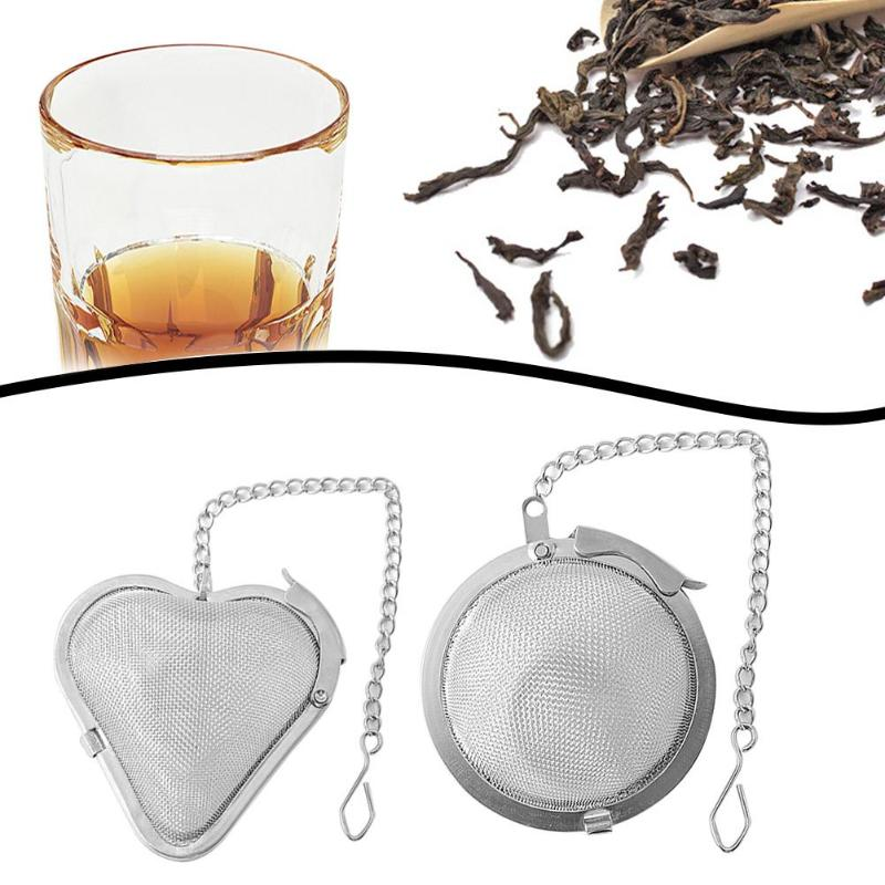 Tea Infuser Stainless Steel Sphere Mesh Tea Strainer Coffee Heart Shaped Herb Spice Filter Diffuser Handle Tea Ball