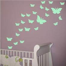 Luminous Butterfly Sticker Room-Decoration Fluorescent Glow-In-The-Dark Decal Children's