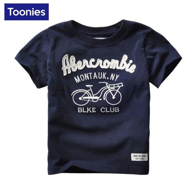 Модные детские футболки Лето 2017 г. письмо велосипедов с принтами футболки детская футболка хлопок Повседневная одежда для мальчиков футболка, топ для мальчиков