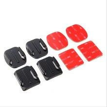 Плоские криволинейной поверхности автомобиль Шлем горе стенд + клей колодки Стикеры комплект для GoPro Hero 5 4 3 2 Xiaomi yi SJCAM SJ4000 sj5000 Камера