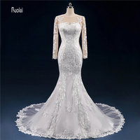 Newest Custom Made Amazing Scoop Appliques Tulle Mermaid Wedding Dress 2017 Sheer Long Sleeve Wedding Gown Open Back Bridal Gown