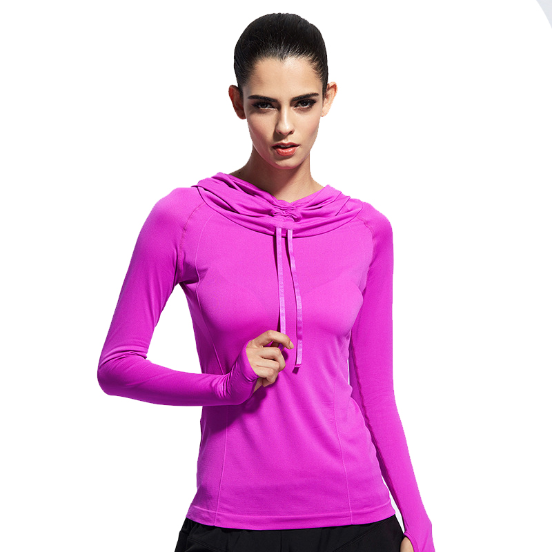 Besgo Thumb Hole High Elastic Yoga Hoodie Long Sleeve Running Shirts Quick Dry Gym Sweatshirt Fitness Outerwear Top For Women