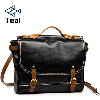Mens Briefcase Laptop Bag Business pu Leather Men Shoulder Crossbody vintage messenger bags luxury bolsas