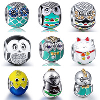 Sterling Silver Charm Owl Chick Cat Mix Charm Bead Fit Pandora Bracelets Necklace Chain DIY Jewelry