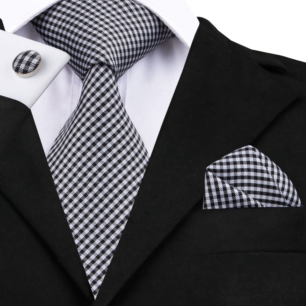 2016 Fashion Black White Plaid Tie Hanky Cufflinks Silk Necktie Ties For Men Formal Business Wedding Party C-1024