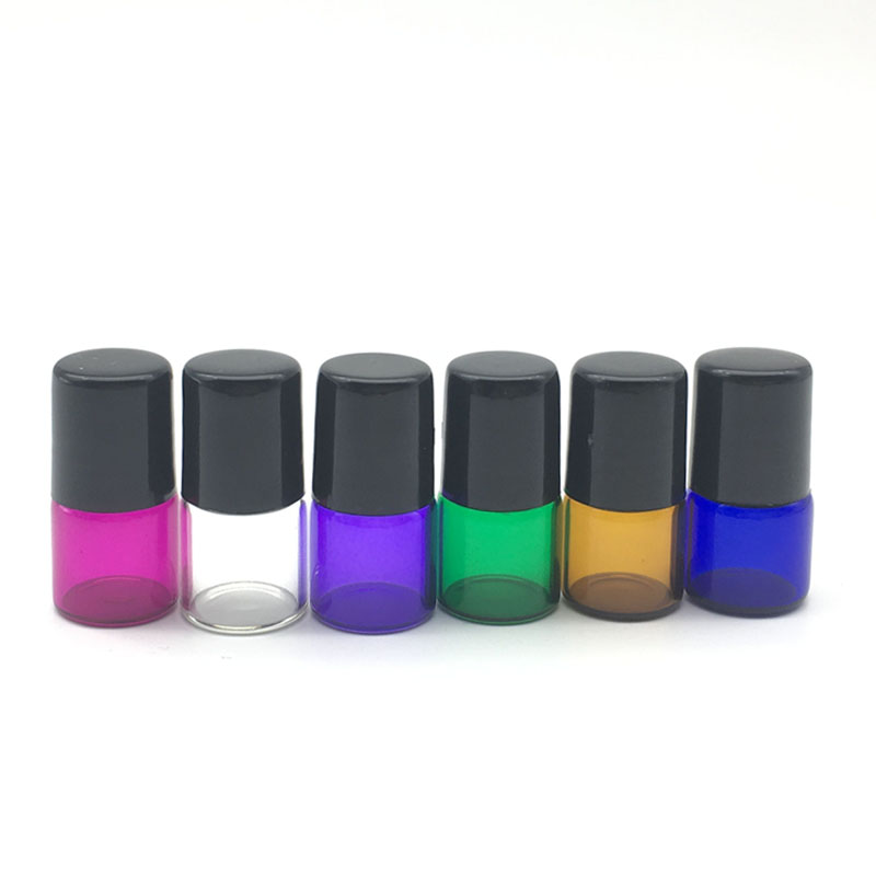 1pcs Empty 1cc Perfume Roll On Purple-blue Glass Bottle 1ml Refillable Roller Essential Oil Sample Container Colorful Test Vials