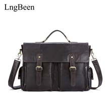 Lngbeen Genuine Leather Coffee Men Briefcase Laptop Business Bag Cowhide Men's Messenger Bags Luxury Lawyer Handbags LB8942