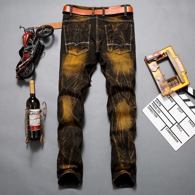 European American Style marque de mode Hommes jeans de luxe casual slim denim pantalon Droite zipper Patchwork noir jeans pour hommes