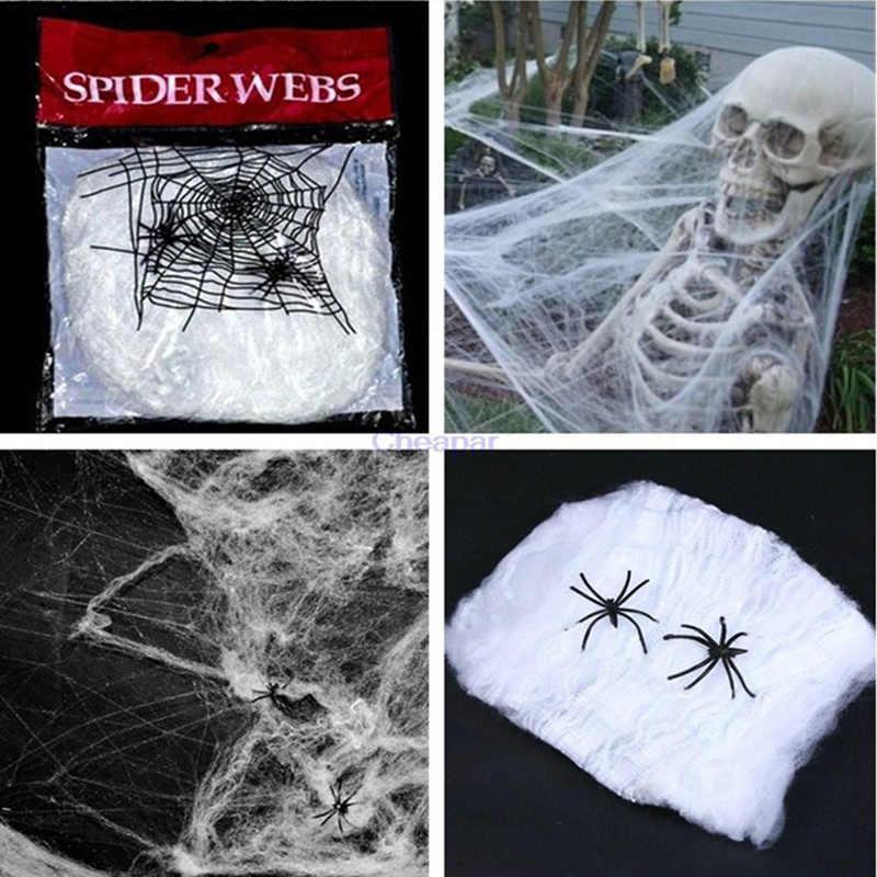 Страшные вечерние реквизиты на Хэллоуин, белая эластичная паутина, паутина, ужас, украшение на Хэллоуин для бара, дом с привидениями