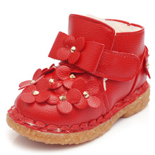 J Ghee Winter Girls Shoes Warm Cotton Boots PU With Floral Decoration Kids Non slip Shoes
