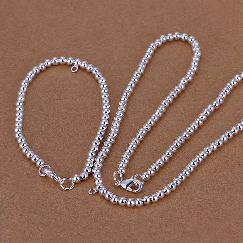 hot sell Fashion Design silver plated jewelry sets 4MM Beads necklace&Bracelet  charm
