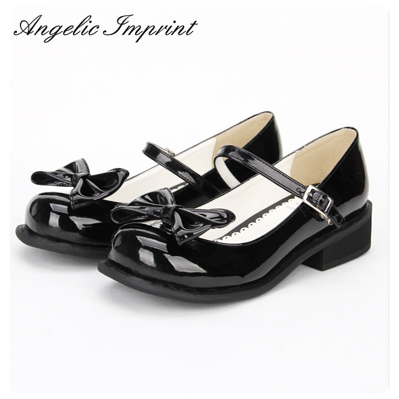 Women Black Patent Leather Low Heel Japanese Lolita Girl Mary Jane Tea Party Shoes sky blue red leather princess girl sweet lolita wedge mary jane shoes