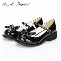 Women Black Patent Leather Low Heel Japanese Lolita Girl Mary Jane Tea Party Shoes