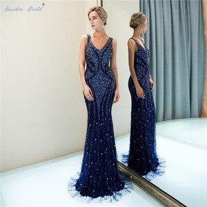 Image 1 - ספיר כלה 2019 הגעה חדשה Vestido דה Festa נוצץ בת ים כחול כהה ענק חרוזים סקסי V צוואר ארוך ערב שמלות