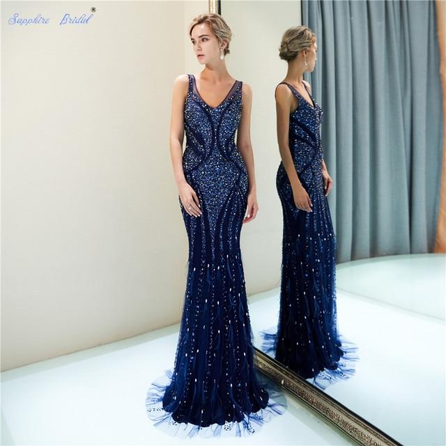 ספיר כלה 2019 הגעה חדשה Vestido דה Festa נוצץ בת ים כחול כהה ענק חרוזים סקסי V צוואר ארוך ערב שמלות