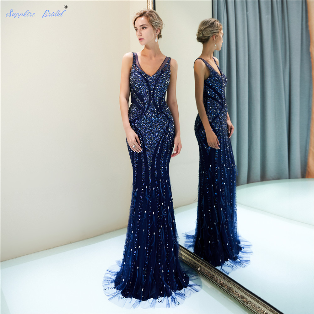 Sapphire Bridal 2019 New Arrival Vestido De Festa Sparkly Mermaid Navy Blue Huge beaded Sexy V Neck Long   Evening     Dresses
