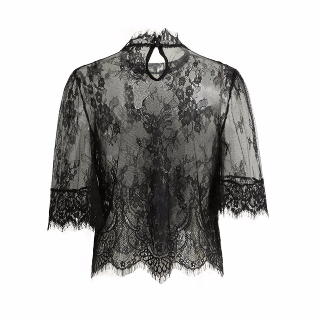 2017 Sexy Crop Top Women Sheer Lace Tops Embroidery High Neck Half Sleeve Women Blouse Mesh Shirt Clubwear Blusas Ropa Mujer