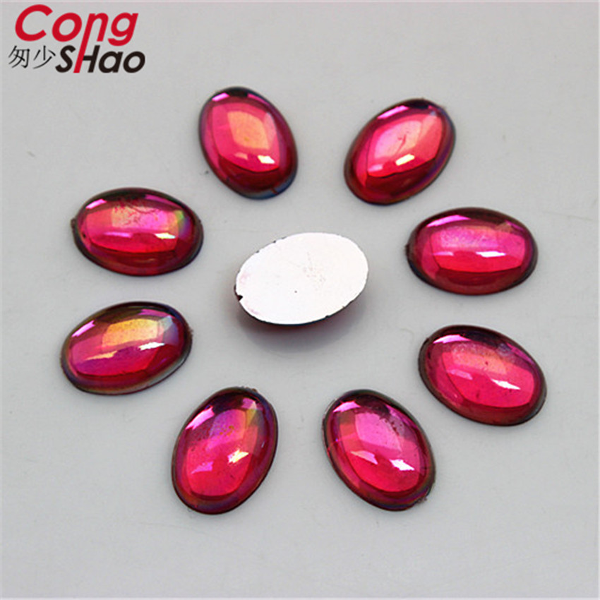 Cong Shao 300PCS 10*14mm AB Color Acrylic Rhinestone Flat Back Oval Shape stones and crystals Clothing crafts Accessories CS309