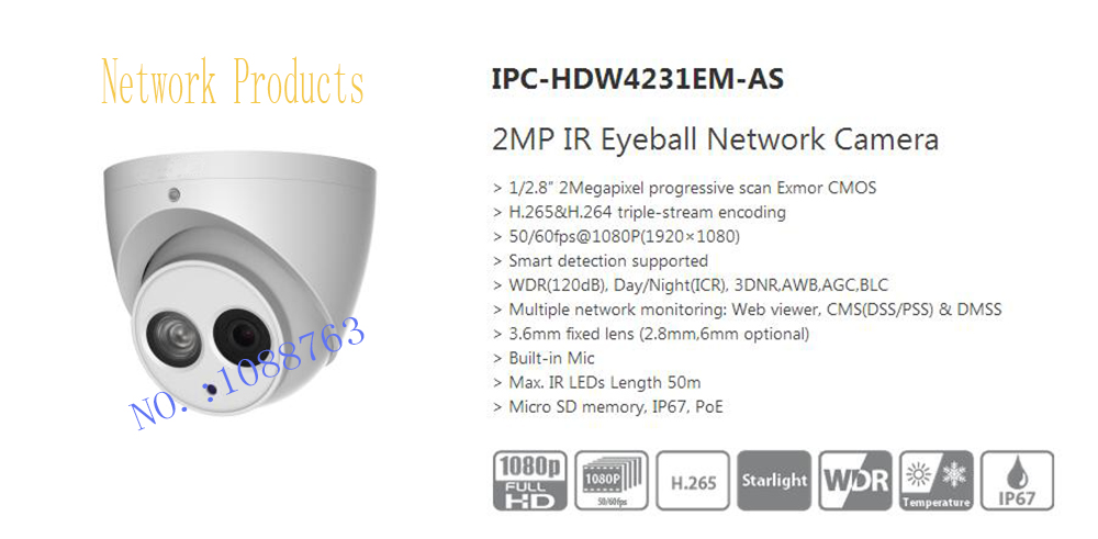 DAHUA IP Camera CCTV 2MP IR Eyeball Network Camera with POE IP67 without Logo IPC-HDW4231EM-AS free shipping dahua cctv camera 4k 8mp wdr ir mini bullet network camera ip67 with poe without logo ipc hfw4831e se