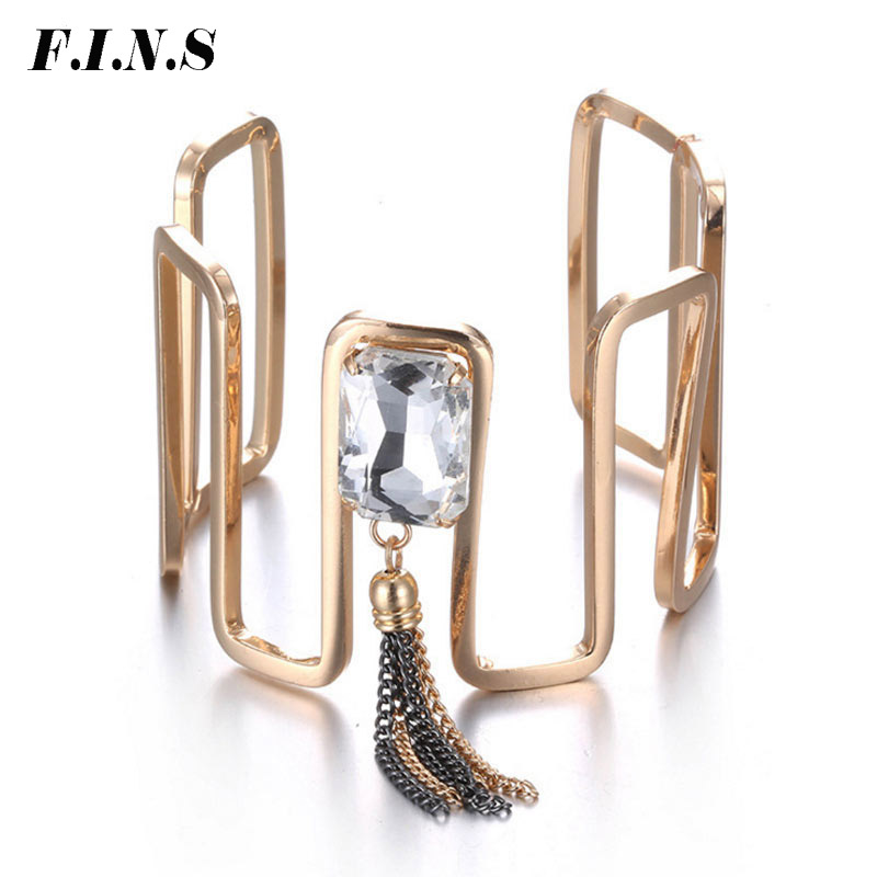 F.I.N.S Punk Vintage Kette Quaste Charme Armbänder /& Armreifen für Frauen Gold Farbe Kupfer Glas Kristall Skeleton Armreif Schmuck