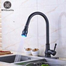 Современные светодиодные ванная кухня горячей и холодной воды кран Однорычажный бортике вытащить носик смесители