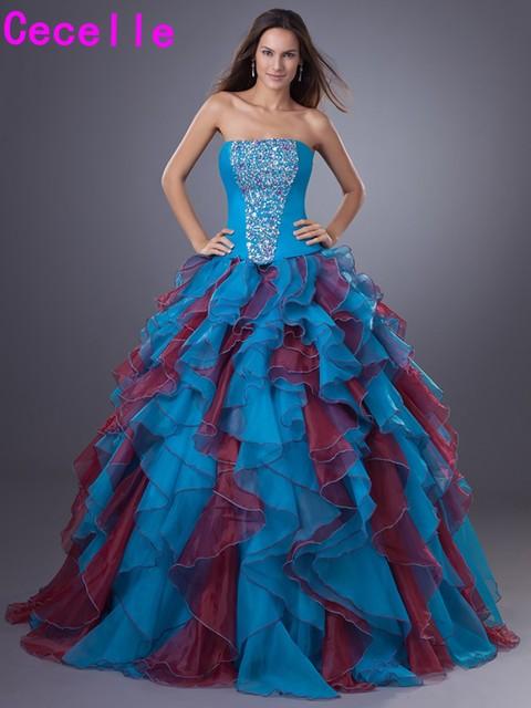 ffa7381ba9b 2019 Ball Gown Quinceanera Dresse Strapless Ruffles Organza Sweet 16 15  Princess Quinceanera Court Party Dresses Custom Made