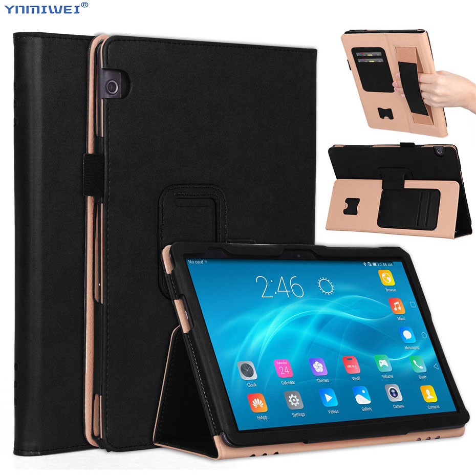 For Huawei MediaPad T5 10 Case PU Leather Hand Holder Cover For Huawei T5 10 AGS2-L09/L03/W09/W19 10.1'' Tablet Case +Films