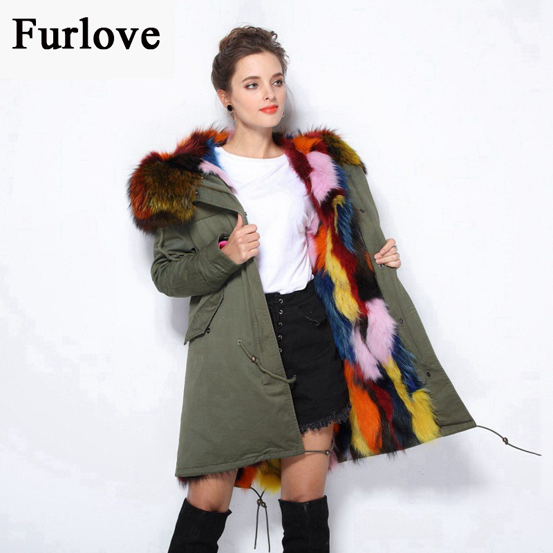 Jackets For Women Winter Coat Female Army Green Black Parkas Raccoon Fur Collar Hooded Real Fox Fur Parka Thick Warm Long Jacket red shell warm raccoon fur collar coat women winter real fox fur liner hooded jacket women long parka female ladies fp891