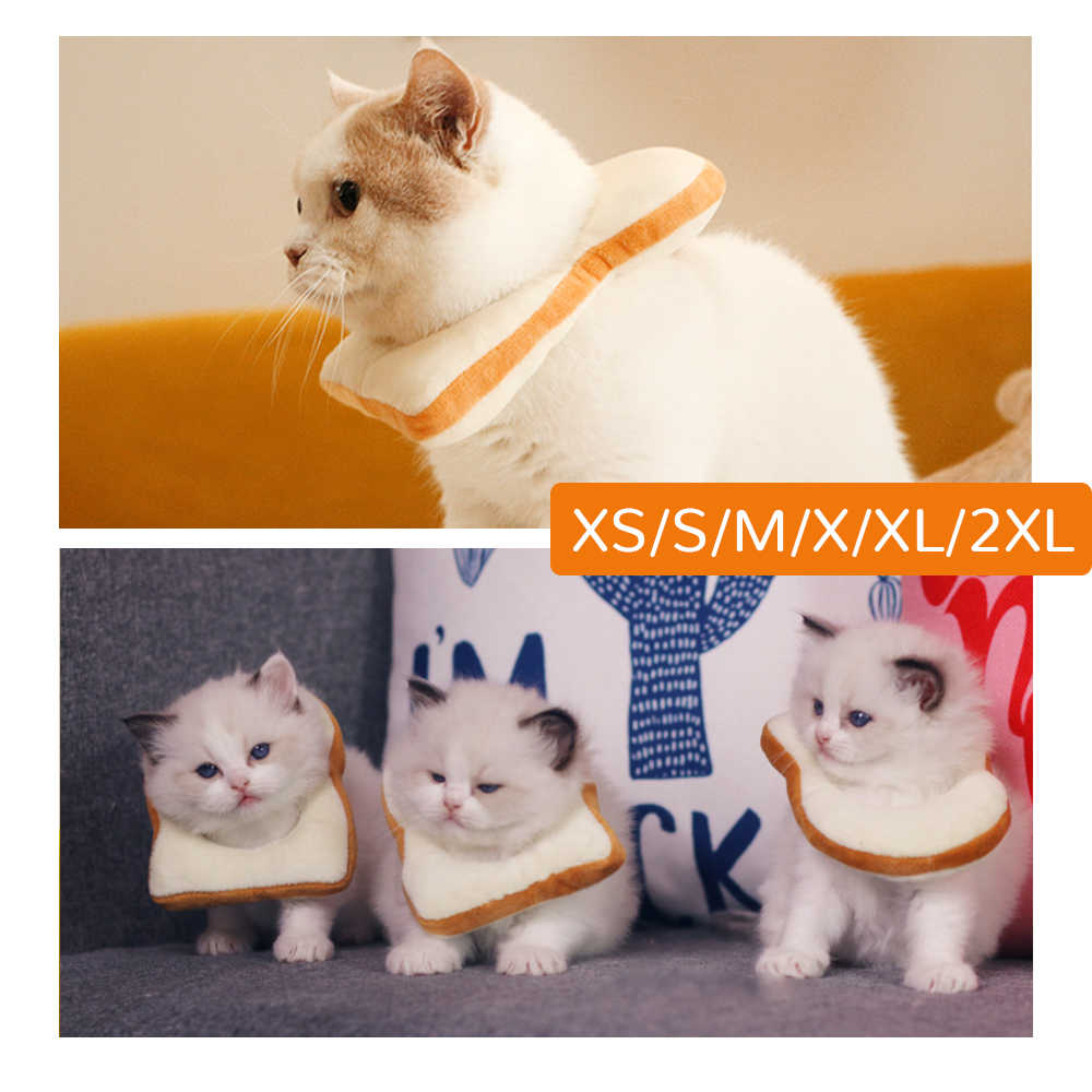 Mascota perros gatos pan suave rebanada creativa tostada cabeza traje círculo Collar mascota foto accesorios decoración traje XS/S /M/L/XL/XXL