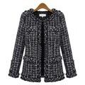 Otoño invierno mujeres Calientes de la chaqueta fina Delgada chaqueta de Tweed a cuadros Chaqueta con bolsillo flojo de Gran tamaño O-cuello de la Tela Escocesa ocasional outwear