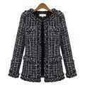 Outono inverno Quente mulheres casaco Fino casaco de Tweed xadrez fino tamanho Grande casual O Pescoço da Manta Jaqueta com bolso solto outwear