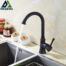 Goose Neck Ванной Кухонный Кран Вращение на 360 Одной Ручкой Смесители Кухня с Горячей и Холодной Водой Черный Бортике