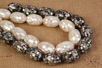 5pcs abalone shell black white egg 20*30mm nature beads for making jewelry FPPJ wholesale