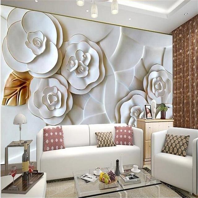 Kustom Foto Wallpaper Timbul Kertas Dinding Lukisan Modern Ruang Tamu Minimalis Tv Latar Belakang Putih Mawar